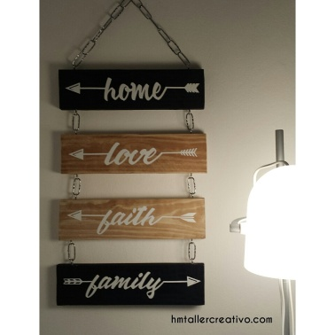 Maderas colgantes Home- Love- Faith- Family